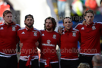 The Wales players sing the National Anthem during the homecoming celebrations at the Cardiff City stadium on Friday 8th July 2016 for the Euro 2016 Wales International football squad.<br /> <br /> <br /> Jeff Thomas Photography -  www.jaypics.photoshelter.com - <br /> e-mail swansea1001@hotmail.co.uk -<br /> Mob: 07837 386244 -