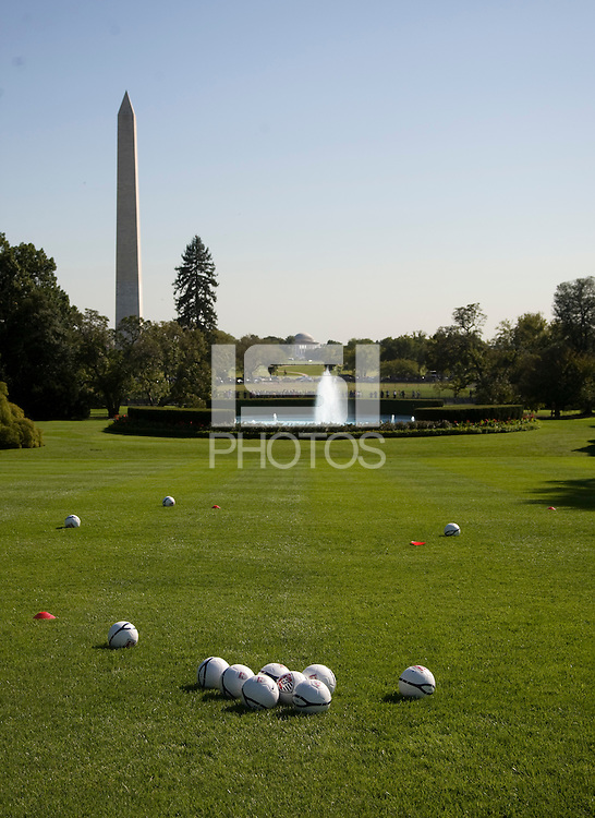 Nike Soccer Ball. Michelle Obama hosted a Lets Move! soccer clinic held on the South Lawn of the White House assisted by members of the USWNT.  Let's Move! was started by Mrs. Obama as a way to promote a healthier lifestyle in children across the country.