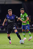 10th July 2020, Orlando, Florida, USA;  San Jose Earthquakes midfielder Jackson Yueill (14) controls the ball during the soccer match between the Seattle Sounders and the San Jose Earthquakes on July 10, 2020, at ESPN Wide World of Sports Complex in Orlando, FL.