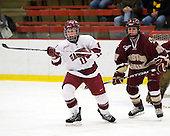 Deborah Conway (Harvard - 11), Mary Restuccia (BC - 22) - The Harvard University Crimson defeated the Boston College Eagles 5-0 in their Beanpot semi-final game on Tuesday, February 2, 2010 at the Bright Hockey Center in Cambridge, Massachusetts.