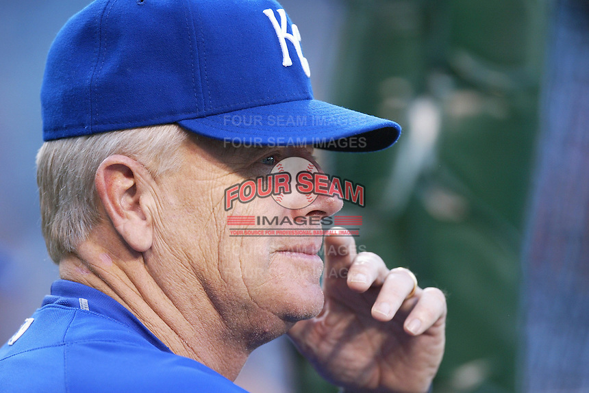Kansas City Royals Manager Buddy Bell during batting practice before a game against the Los Angeles Angels in a 2007 MLB season game at Angel Stadium in Anaheim, California. (Larry Goren/Four Seam Images)