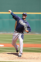 Casey Kelly #78 of the San Diego Padres pitches in a spring training game against the Cincinnati Reds at Goodyear Stadium on March 25, 2011  in Goodyear, Arizona. .Photo by:  Bill Mitchell/Four Seam Images.
