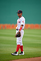 Salem Red Sox shortstop Santiago Espinal (5) warms up before the first game of a doubleheader against the Potomac Nationals on June 11, 2018 at Haley Toyota Field in Salem, Virginia.  Potomac defeated Salem 9-4.  (Mike Janes/Four Seam Images)