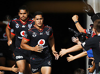 Roger Tuivasa-Sheck leads the team onto the field.<br /> NRL Premiership. Vodafone Warriors v Gold Coast Titans. Mt Smart Stadium, Auckland, New Zealand. March 17 2018. &copy; Copyright photo: Andrew Cornaga / www.Photosport.nz