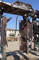De-leafing machine with rotors. Vieux Chateau Gaubert, Graves, Bordeaux, France