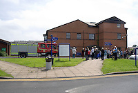 Firefighters attend a AFA at Warwick Hospital patients and staff are waiting outside. This image may only be used to portray the subject in a positive manner..©shoutpictures.com..john@shoutpictures.com