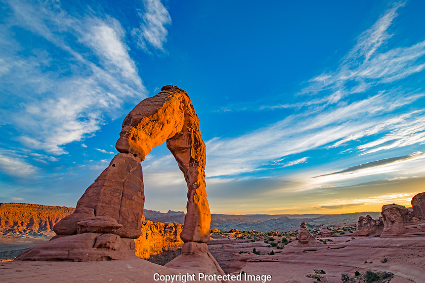 Delicate Arch and evening clouds, Arches National Park, Utah, Free-standing natural arch