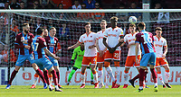 Scunthorpe United watches on as his effort goes close<br /> <br /> Photographer David Shipman/CameraSport<br /> <br /> The EFL Sky Bet League One - Scunthorpe United v Blackpool - Friday 19th April 2019 - Glanford Park - Scunthorpe<br /> <br /> World Copyright © 2019 CameraSport. All rights reserved. 43 Linden Ave. Countesthorpe. Leicester. England. LE8 5PG - Tel: +44 (0) 116 277 4147 - admin@camerasport.com - www.camerasport.com