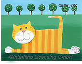 Kate, CUTE ANIMALS, LUSTIGE TIERE, ANIMALITOS DIVERTIDOS, paintings+++++Flat Cat 1 with scene.,GBKM460,#ac#, EVERYDAY ,cat,cats
