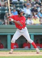 July 29, 2009: Outfielder T.J. Warren (4) of the Lakewood BlueClaws, Class A affiliate of the Philadelphia Phillies, in a game at Fluor Field at the West End in Greenville, S.C. Photo by: Tom Priddy/Four Seam Images