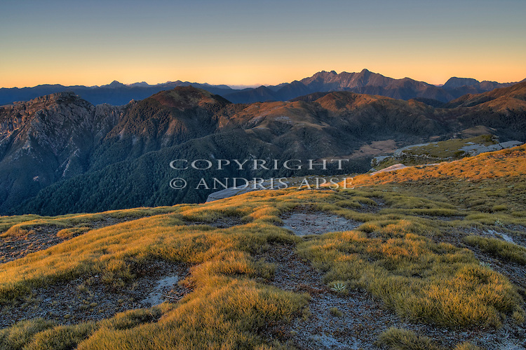 Garibaldi Ridge. Kahurangi National Park  at sunset. Tasman Region. New Zealand.