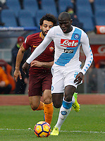 Napoli&rsquo;s Kalidou Koulibaly, right, is chased by Roma&rsquo;s Mohamed Salah during the Italian Serie A football match between Roma and Napoli at Rome's Olympic stadium, 4 March 2017. <br /> UPDATE IMAGES PRESS/Riccardo De Luca