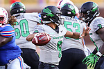 North Texas Mean Green quarterback Mason Fine (6) in action during the game between the North Texas Mean Green and the SMU Mustangs at the Gerald J. Ford Stadium in Fort Worth, Texas.