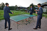 Austria, Kitzbuhel, Juli 15, 2015, Tennis, Davis Cup, Dutch team, Official dinner, playing tabletennis ltr: Robin Haase, Thiemo de Bakker and Jean-Julien Rojer<br /> Photo: Tennisimages/Henk Koster