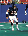 Chicago Bears Mike Singletary(50) during a game against the New York Giants at the Giants Stadium in East Rutherford, New Jersey. Mike Singletary played for 12 years all with the Bears was a 10-time Pro Bowler and was inducted to Pro Football Hall of Fame in 1998.