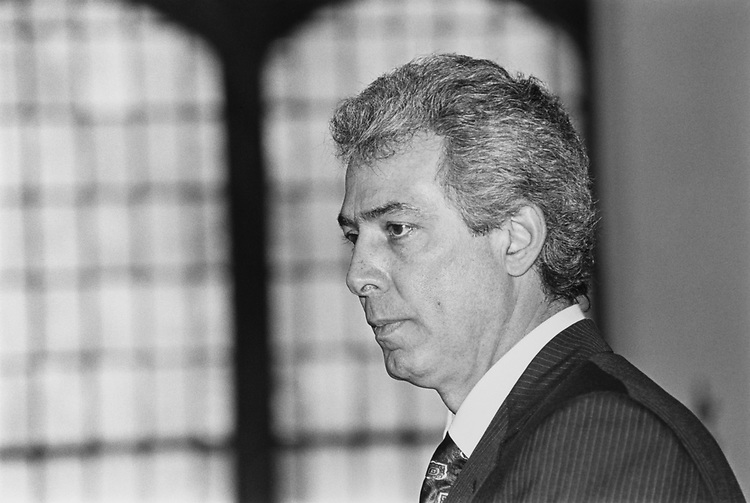 Close-up of Rep. Marty Russo, D-Ill., on Feb. 29, 1992. (Photo by Maureen Keating/CQ Roll Call)