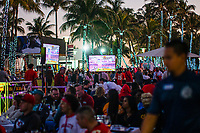 MIAMI, FL - FEBRUARY 2: Fans arrive to watch at the beach the Super Bowl XLIV Live on February 2, 2020 in Miami, USA. (Photo by Kena Betancur/VIEWpress/Getty Images)
