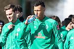 12.03.2020, Trainingsgelaende am wohninvest WESERSTADION,, Bremen, GER, 1.FBL, Werder Bremen Training, im Bild<br /> <br /> Die Mannschaft kommt zum Training - Kevin Vogt (Werder Bremen  #03)<br /> Sebastian Langkamp (Werder Bremen #15)<br /> Davie Selke (Neuzugang SV Werder Bremen #09)<br /> <br /> Foto © nordphoto / Kokenge