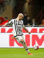 Calcio, Coppa Italia: semifinale di ritorno Inter vs Juventus. Milano, stadio San Siro, 2 marzo 2016. <br /> Juventus&rsquo;s Simone Zaza kicks the ball during the Italian Cup second leg semifinal football match between Inter and Juventus at Milan's San Siro stadium, 2 March 2016.<br /> UPDATE IMAGES PRESS/Isabella Bonotto