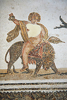 Pictures of a Roman mosaics design depicting Dionysus  riding a Panther spilling a glass of wine he is holding, from Abdel Jelil. 2nd century AD. El Djem Archaeological Museum, El Djem, Tunisia.