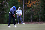 GREENSBORO, NC - OCTOBER 29: Duke's Chandler Eaton on the 4th green. The third round of the UNCG/Grandover Collegiate Men's Golf Tournament was held on October 29, 2017, at the Grandover Resort East Course in Greensboro, NC.