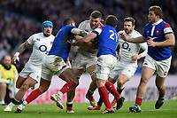 Mark Wilson of England takes on the France defence. Guinness Six Nations match between England and France on February 10, 2019 at Twickenham Stadium in London, England. Photo by: Patrick Khachfe / Onside Images