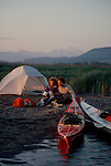 Sea Kayakers, camping on the Skagit River, Skagit River estuary, Skagit County, Washington State, Pacific Northwest, North America, USA.
