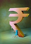Male patient with standing intravenous drip leaning to Indian Rupee symbol