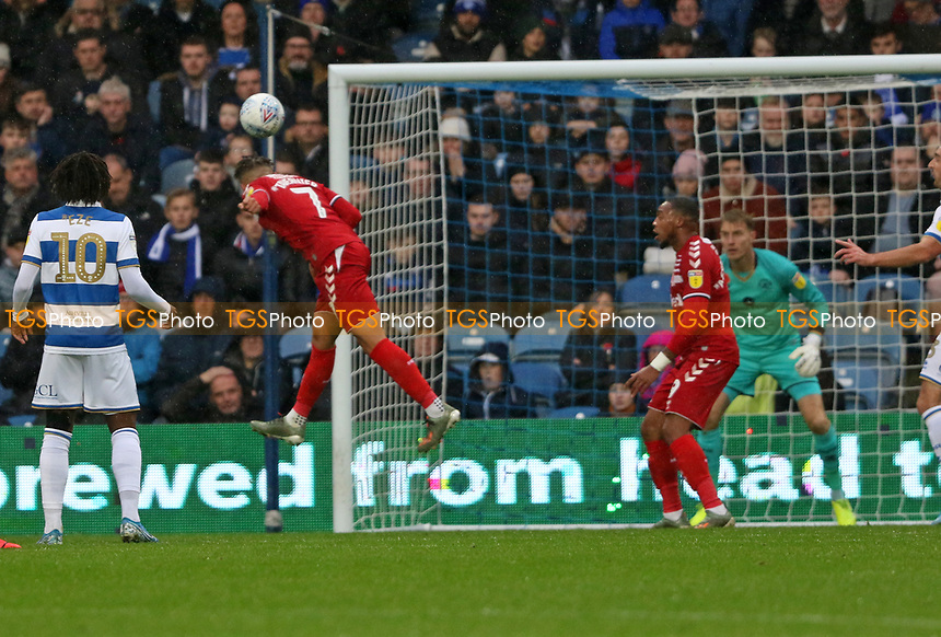 Marcus Tavernier of Middlesbrough header saved during Queens Park Rangers vs Middlesbrough, Sky Bet EFL Championship Football at Loftus Road Stadium on 9th November 2019