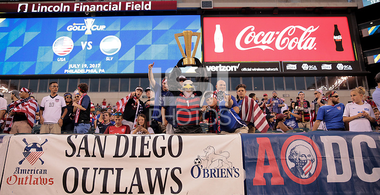 Philadelphia, PA - Wednesday July 19, 2017: American Outlaws during a 2017 Gold Cup match between the men's national teams of the United States (USA) and El Salvador (SLV) at Lincoln Financial Field.