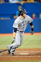 Seattle Mariners outfielder Michael Saunders #55 during an American League game against the Toronto Blue Jays at the Rogers Centre on September 13, 2012 in Toronto, Ontario.  Toronto defeated Seattle 8-3.  (Mike Janes/Four Seam Images)