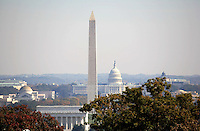 Monuments in Washington DC viewed from a distance. Lincoln Memorial, Washington Monument, Capitol Building.