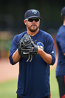 Mobile BayBears pitcher Seth Simmons (31) during practice before a game against the Mississippi Braves on April 28, 2015 at Hank Aaron Stadium in Mobile, Alabama.  The game was suspended after the top of the second inning with Mobile leading 3-0, the BayBears went on to defeat the Braves 6-1 the following day.  (Mike Janes/Four Seam Images)