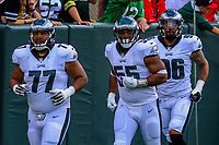 Philadelphia Eagles defensive tackle Gabe Wright (77), defensive end Brandon Graham (55) and defensive end Derek Barnett (96) during a preseason football game against the Green Bay Packers on August 10, 2017 at Lambeau Field in Green Bay, Wisconsin. Green Bay defeated Philadelphia 24-9.  (Brad Krause/Krause Sports Photography)