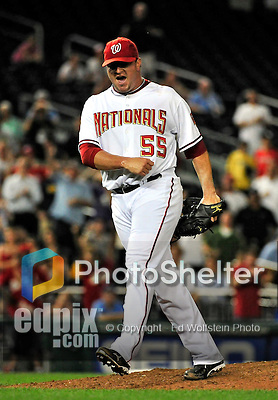 21 June 2010: Washington Nationals' pitcher Matt Capps expresses some emotion as he closes out a game against the Kansas City Royals at Nationals Park in Washington, DC. The Nationals edged out the Royals 2-1 in the first game of their 3-game interleague series, snapping a 6-game losing streak. Mandatory Credit: Ed Wolfstein Photo