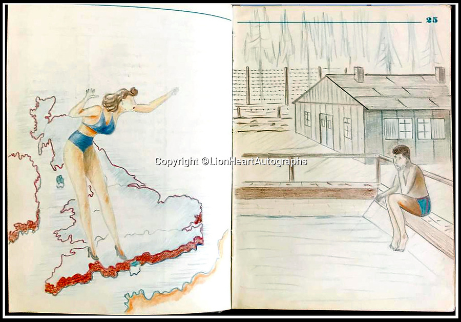 BNPS.co.uk (01202 558833)<br /> Pic:   LionHeartAutographs/BNPS<br /> <br /> One coloured pencil drawing is of a woman in a swimsuit standing atop a map of Britain facing a prisoner wearing swimming trunks and soaking his feet in an imaginary swimming pool.<br /> <br /> A remarkable diary kept by a POW in the Great Escape camp which includes a tribute to the 50 men executed in its reprisals has come to light.<br /> <br /> British RAF officer Joseph Gueuffen, of 609 Squadron, was shot down during a bombing raid over Germany and held captive at Stalag Luft III from late 1943 until the end of the war.<br /> <br /> The Belgian born pilot was kept in Block 109, a barrack which played an integral part in the mass escape of prisoners on March 24, 1944.<br /> <br /> The diary boasts a list of the officers executed by the Nazis following their recapture and a drawing of the permanent memorial for them by Belgian RAF pilot Bobby Laumans.