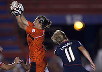 Dinnia Diaz of Costa Rica goes up for the save. USWNT vs Costa Rica in the 2010 CONCACAF Women's World Cup Qualifying tournament held at Estadio Quintana Roo in Cancun, Mexico on November 1st, 2010.