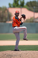 San Francisco Giants Orange relief pitcher Alex Bostic (81) delivers a pitch during an Extended Spring Training game against the Oakland Athletics at the Lew Wolff Training Complex on May 29, 2018 in Mesa, Arizona. (Zachary Lucy/Four Seam Images)