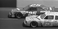 Geoff Bodine and Rob Moroso compete in the Busch Series race  at Darlington Raceway in Darlington, SC on March 19, 1988. (Photo by Brian Cleary/www.bcpix.com)