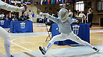12 February 2017: Duke's Haley Fisher (right) and UNC's Meredith Bozentka (left) during Saber. The Duke University Blue Devils hosted the University of North Carolina Tar Heels at Card Gym in Durham, North Carolina in a 2017 College Women's Fencing match. Duke won the dual match 14-13 overall and 7-2 in Epee. UNC won Foil 6-3 and Saber 5-4.