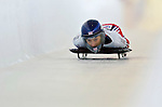 18 November 2005: Shelley Rudman of Great Britain slides down the track to take 11th place at the 2005 FIBT World Cup Women's Skeleton competition at the Verizon Sports Complex, in Lake Placid, NY. Mandatory Photo Credit: Ed Wolfstein.