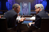 President Barack Obama talks with President Sebastián Piñera of Chile during the working lunch at the Nuclear Security Summit at the Walter E. Washington Convention Center in Washington, D.C., April 13, 2010.  The President thanked President Piñera for Chile's recently completed removal of all highly enriched uranium (HEU) from Chile and commended Chilean leadership in promoting nuclear non-proliferation and for working with us to achieve a successful Non-Proliferation Treaty Review Conference next month.  The Presidents agreed to work together to advance respect for shared values, including democratic governance, human rights, economic prosperity, and social inclusion throughout the Americas.  Finally, the President renewed the U.S. offer to support Chile's ongoing recovery efforts following the February 27 earthquake should the Chilean government request further assistance.  .Mandatory Credit: Pete Souza - White House via CNP