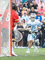 Baltimore, MD - April 28, 2018: Johns Hopkins Blue Jays Alex Concannon (2) scores a goal during game between John Hopkins and Maryland at  Homewood Field in Baltimore, MD.  (Photo by Elliott Brown/Media Images International)