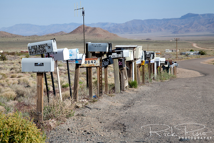 Mailboxes sit at the corner of Route 66 and Antares Road west of the town of Hackberry in Arizona