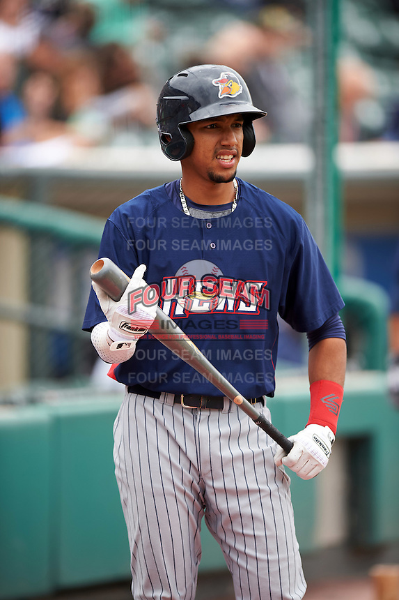Toledo Mudhens shortstop Dixon Machado (6) warms up on deck during a game against the Rochester Red Wings on June 12, 2016 at Frontier Field in Rochester, New York.  Rochester defeated Toledo 9-7.  (Mike Janes/Four Seam Images)
