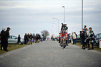 Philippe Gilbert (BEL/BMC) tries to bridge the gap to the race leaders solo, but will keep chasing until the finish<br /> <br /> Omloop Het Nieuwsblad 2015