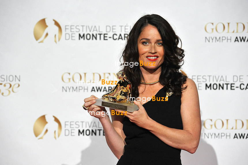 CPE/June 13, 2013-Robin Tunney receives the Audience Awards during the closing ceremony of 53rd Monte-Carlo TV Festival. Golden Nymph Awards Photocall.