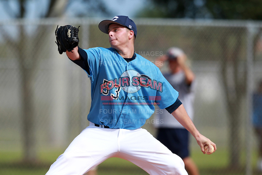Pitcher Andy Suarez (53) of the Columbus Explorers travel team during the Team One Fall Classic at Roger Dean Stadium Complex in Jupiter, Florida September 25, 2010.   Photo By Mike Janes/Four Seam Images