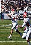 October 22, 2011:   Fresno State Bulldog quarterback Derek Carr throws an 8-yard touchdown pass to Jalen Saunders in the second quarter against the Nevada Wolf Pack during a WAC league game played at Mackay Stadium in Reno, Nevada.