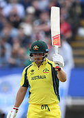 June 10th 2017, Edgbaston, Birmingham, England;  ICC Champions Trophy Cricket, England versus Australia; Aaron Finch of Australia celebrates his 50